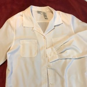 Jaclyn Smith Cream Colored Button Down Blouse S 14